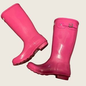 Size 6 Hot Pink Sparkly Hunter Rain Boots